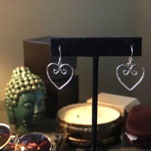 Sterling Silver Curling Heart Dangling Earrings